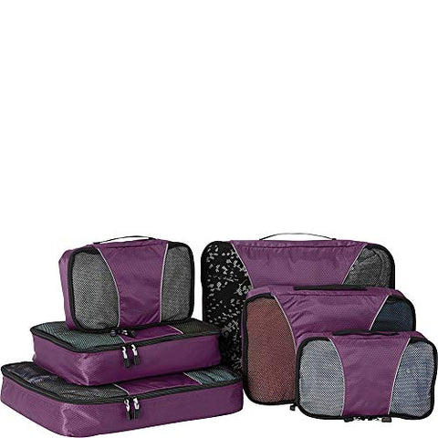 eBags Small/Medium/Large Packing Cubes for Travel - 6pc Sampler Set - (Eggplant)