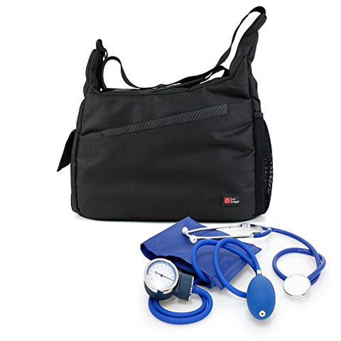 Nurse / Gp / Doctor Medical Kit Bag -Black & Orange Shoulder 'Sling' Bag For Nursing / Home