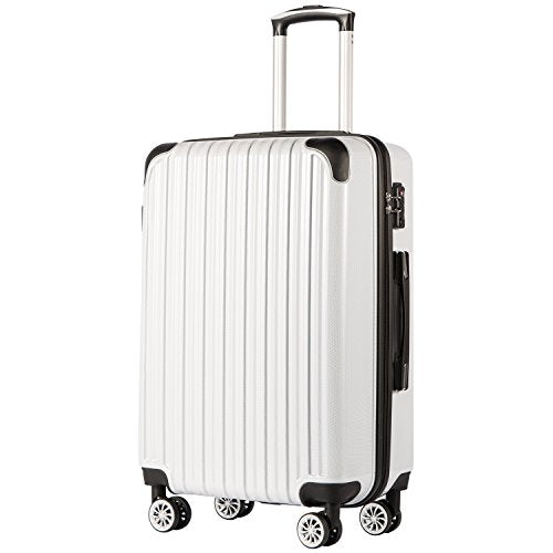"COOLIFE Luggage Expandable(only 28"") Suitcase PC+ABS Spinner 20in 24in 28in Carry on (White Grid New, M(24in))"