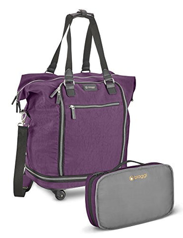 "Biaggi Luggage Zipsak 20"" Micro Fold Spinner Fashion Tote, Purple"