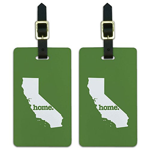 Graphics & More California Ca Home State Luggage Suitcase Id Tags-Solid Green, White