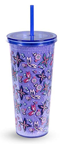 Vera Bradley Acrylic Insulated Travel Tumbler with Reusable Straw, 24 Ounces, Makani Paisley