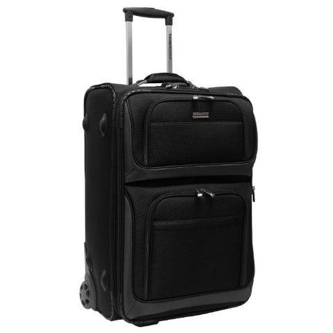 Traveler'S Choice Conventional Ii Lightweight Expandable Rugged Rollaboard Rolling Luggage - Black
