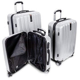 "Deco Gear Travel Elite Series - 3 Piece Hardside Spinner Luggage Set (Silver)(20"",24"",28"")"
