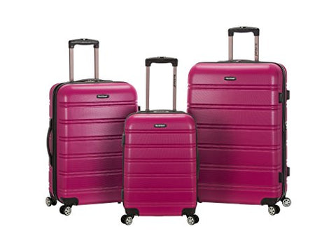 Rockland Melbourne 3 Piece Abs Luggage Set, Magenta, One Size