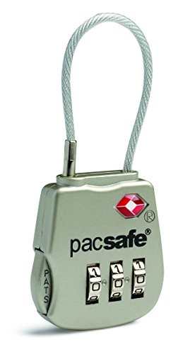Pacsafe Prosafe 800 Tsa Accepted 3-Dial Cable Lock, Silver