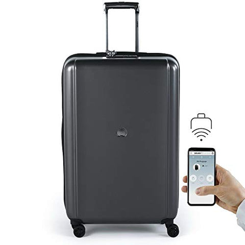 "Delsey Pluggage 28"" Hardside Spinner Upright Checked Luggage (Black)"