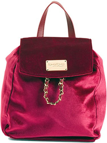 BEBE Women's Velvet Drawstring Backpack, Wine