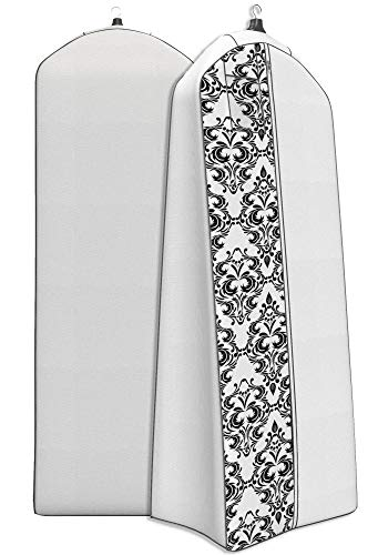 "Women's Dress and Gown Garment Bag - 72""x24"" - 20"" Tapered Gusset, Black and White Damask"