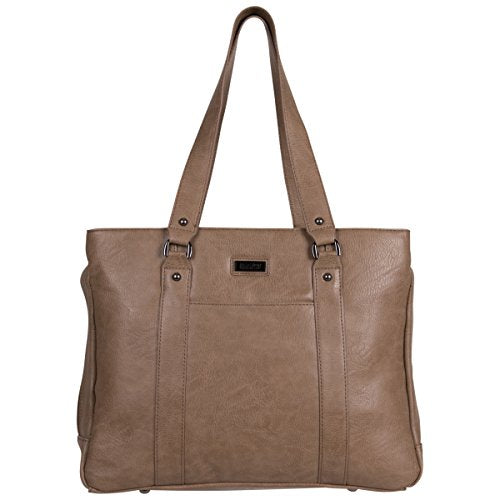 "Kenneth Cole Reaction Hit Women's Pebbled Faux Leather Triple Compartment 15"" Laptop Business Tote, Taupe"
