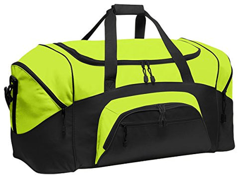 Port & Company Color Block Sport Zipper Duffel Bag_Safety Yellow/Black_Osfa