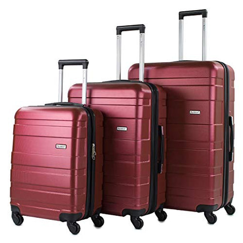 AMKA Verano Hardside 3-Piece Expandable Spinner Upright Luggage Set - Burgundy