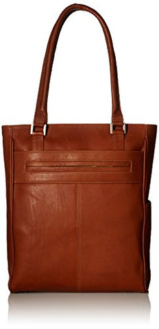 Piel Leather Vertical Laptop Tote, Saddle, One Size