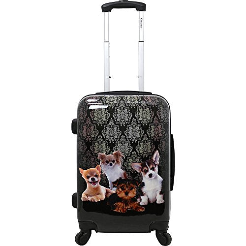 "Chariot 20"" Lightweight Spinner Carry-on Hardside Suitcase Luggage-Doggies, Black"