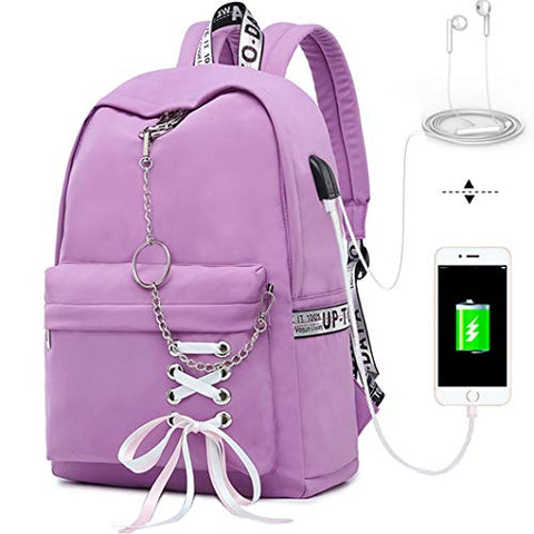 Hey Yoo HY760 Cute Casual Hiking Daypack Waterproof Bookbag School Bag Backpack for Girls Women (Purple)