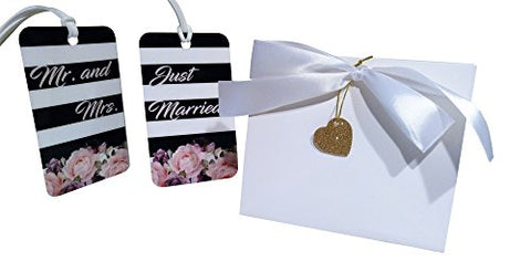Just Married Luggage Tag Gift Set (Wedding, Honeymoon, Luggage Tags) (Garden Stripe)