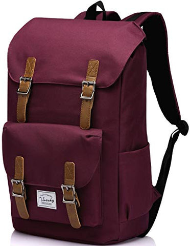 School Backpack,Vaschy Water Resistant Drawstring Laptop Backpack Women For 15.6 Inch Laptop