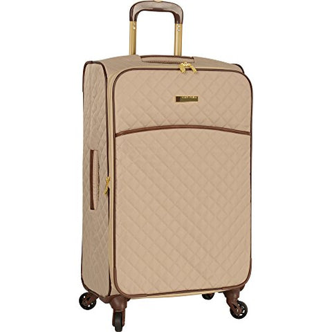 "Anne Klein 21"" Expandable Softside Spinner Carryon Luggage, Tan Quilted"
