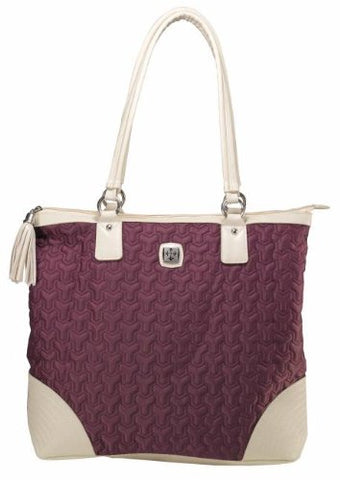 Grape Nylon Tote Bag With Tassel And Metal Badge
