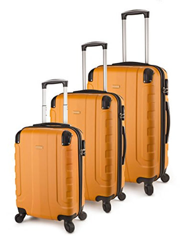 Travelcross Chicago Luggage 3 Piece Lightweight Spinner Set (Orange)