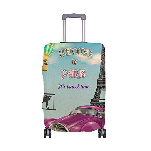 GIOVANIOR Vintage Paris Purple Car Hot Balloon Luggage Cover Suitcase Protector Carry On Covers