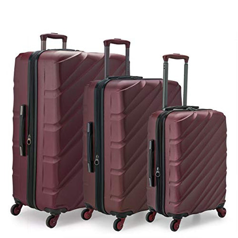 U.S. Traveler US09108R Gilmore 3 Piece Expandable Hardside 4-Wheel Spinner Luggage Set with Push-Button Handle System44; Burgundy