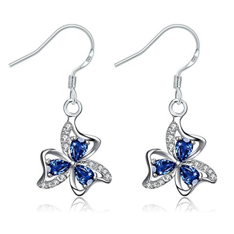 Acxico elegant Shamrock or 3-Leaf Clover Heart Celtic Knot with blue zircon Sterling Silver Hook