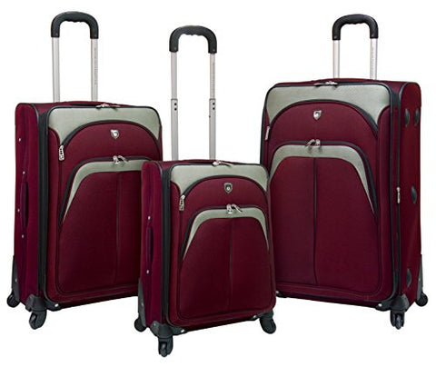 "TPRC 3 Piece ""Lexington Collection"" Expandable Luggage Set with 360º Wheels Includes 28"""