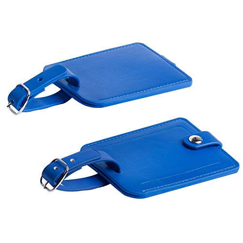 Luggage Bag Tags Leather Travel ID Labels Suitcase Name Tags with Snap - Set of 2 (PU Blue)