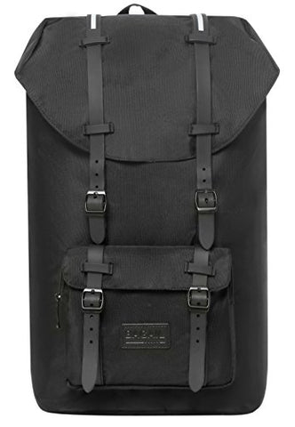 Bagail Casual Large Vintage Canvas Travel Backpacks Laptop College School Bags (Black)