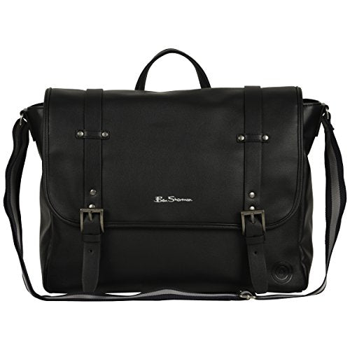 "Ben Sherman Faux Leather Flapover 15.0"" Computer Laptop Messenger Bag, Black, One Size"