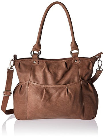 Piel Leather Zippered Cross-Body Tote, Toffee