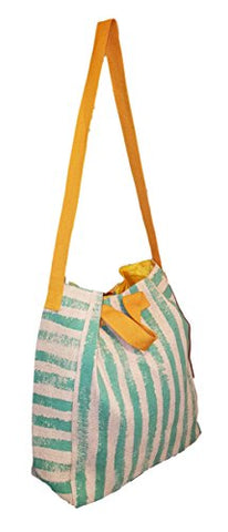 101 Beach - 2 In 1 Cross-Over Large Tote Bag - Custom Embroidery (Mint Stripe - Gold Trim)