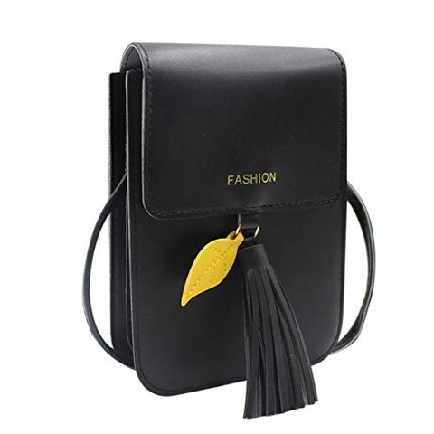 Aibearty 4 Layers Crossbody Cell Phone Pouch Bag Small Tassel Leather Shoulder Purse Wallet