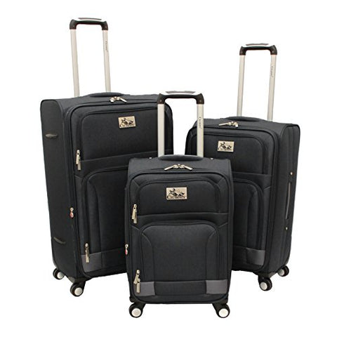 Chariot Genoa 3-Piece Lightweight Upright Spinner Luggage Set, Black Grey