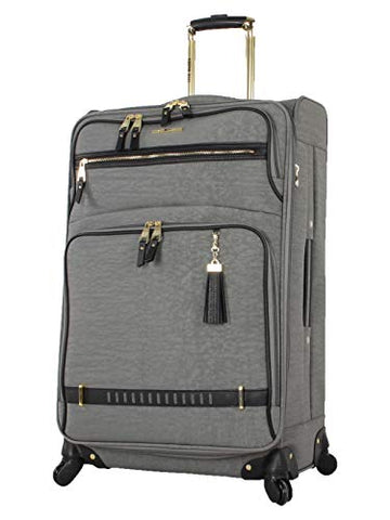 "Steve Madden Luggage 24"" Expandable Softside Suitcase With Spinner Wheels (Peek A Boo Gray, 24In)"