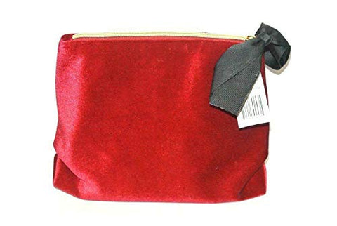 Saks Fifth Avenue Red Velvet Bag with Grosgrain Ribbon Bow Cosmetic Bag, Limited Edition