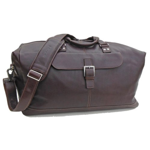 BOCONI Men's Tyler Tumbled Cargo Duffle in Coffee leather w/ khaki