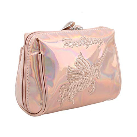 Aibearty Holographic Cosmetic Bag Travel Toiletry Pouch Zipper Handbag Carry Case Organizer