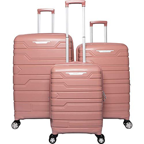 Gabbiano Spectra Collection 3 Piece Hardside Spinner Luggage Set (Rose Gold)