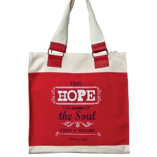 "Retro Blessings ""Hope"" Red Canvas Tote Bag - Hebrews 6:19"