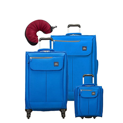 "Skyway Mirage 2.0 | 4-Piece Set | 16"" Underseater, 24"" and 28"" Expandable Spinners, Travel Pillow (Blue Royal)"