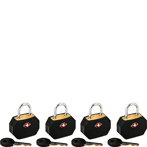 Lewis N. Clark Tsa Padlocks/4 Pack (Black)