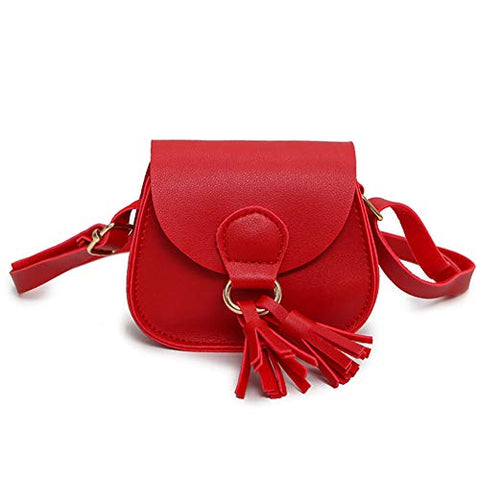 Kids Girls Soft Leather Shoulder Purse with Tassel Mini Crossbody Bag