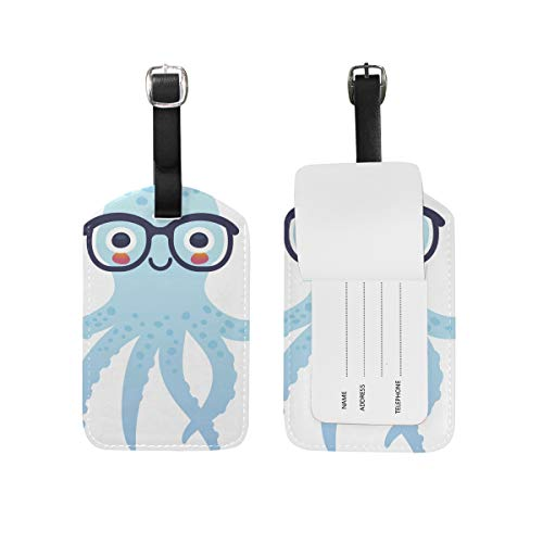 Leather Luggage Tag Octopus Wearing Glasses Baggage Tag Suitcase Label 1 Piece