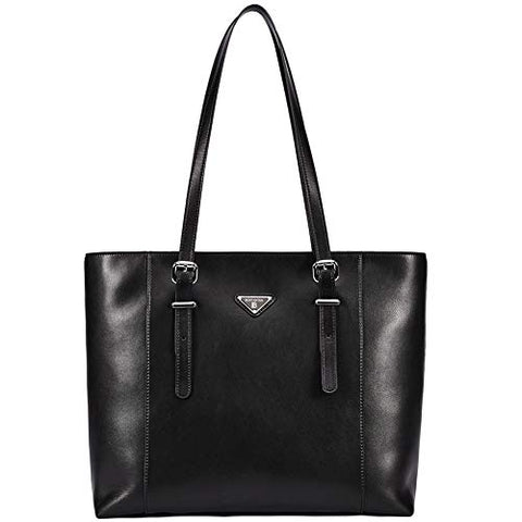 "BOSTANTEN Women Briefcase Leather Laptop Tote Handbags 15.6"" Computer Shoulder Bags Black"