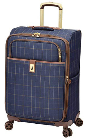 "London Fog Kensington II 25"" Expandable Spinner, Navy Window Pane"