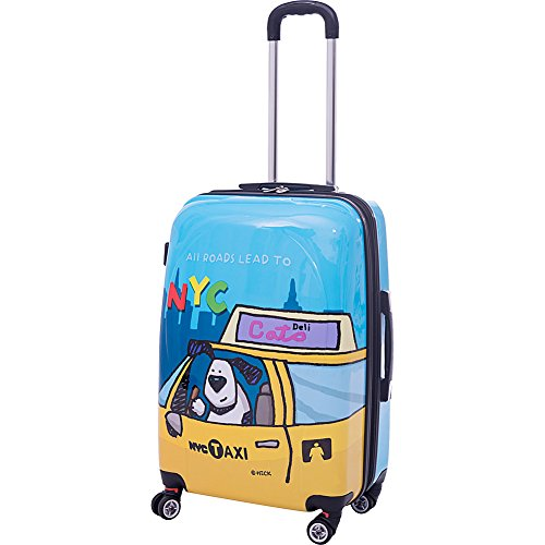 "Ed Heck Luggage Riley 25"" Expandable Hardside Checked Spinner Luggage (Blue)"