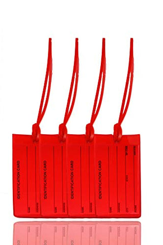 4 Red Luggage Tags - Made in USA