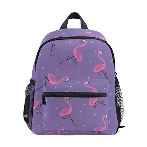 GIOVANIOR Purple Flamingos Blue Dots Lightweight Travel School Backpack for Boys Girls Kids